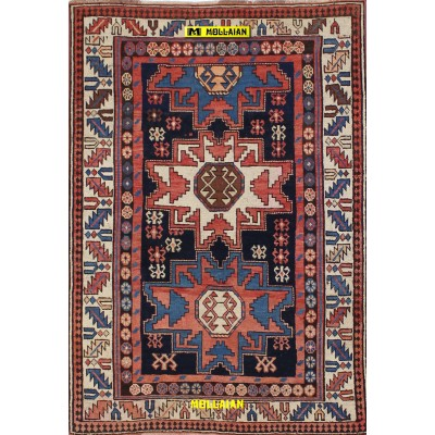 Kazak lesghi 143x97 Azerbaijan-Mollaian-Antique-Rugs-Antique carpets-Kazak Old-old-carpet-0280-2.250,00€-Sale--50%