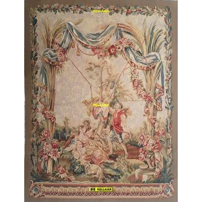 Aubusson Tapestry 192x148-Mollaian-rugs-Aubusson and Tapestries-Arazzo Aubusson-geometrico-AR0028-2.000,00€-Sale--50%