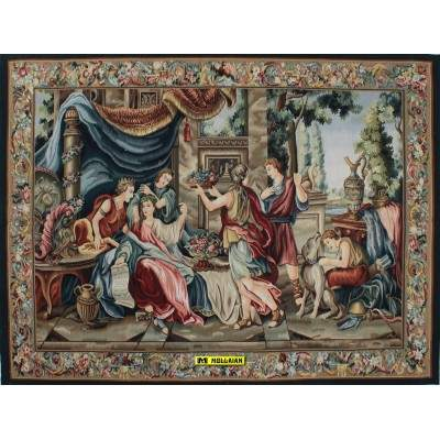 Aubusson Tapestry 219x165-Mollaian-rugs-Aubusson and Tapestries-Arazzo Aubusson-geometrico-AR88600-2.200,00€-Sale--50%