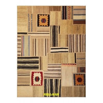 Patchwork Old Kilim Persia 191x144 Mollaian rugs