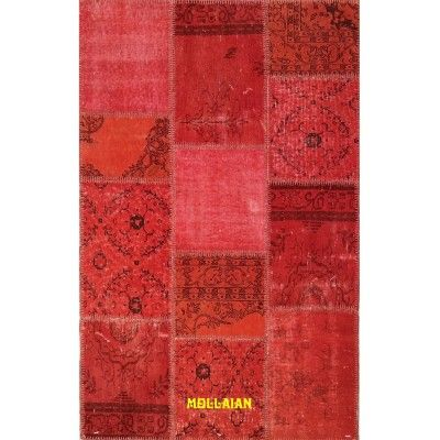 Patchwork Vintage Anatolia red black 190x120 Mollaian rugs