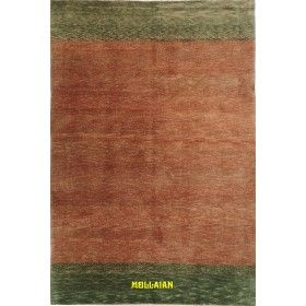 Gabbeh Beijing carpet 188x123 green and orange -Mollaian rugs