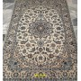 Persian carpet Nain 9 line light white and silk color 202x135 Mollaian rugs