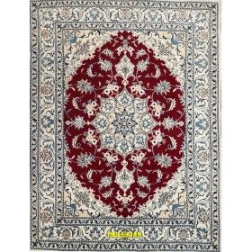 Nain persian carpet Bordeaux wool and silk, 203 x 141 Mollaian rugs