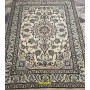 tappeto Nain lana seta beige bianco e azzurro Persia 200 x143 Mollaian rugs