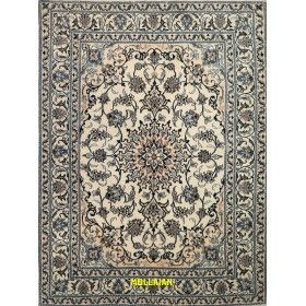 Nain Persian rug light beige and blue and silk 205x150 Mollaian rugs