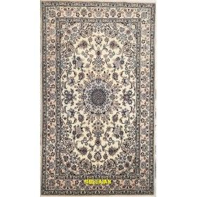 Fine rug Nain 9 line Persia white and blue gray and silk 220x128 Mollaian rugs