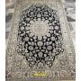 tappeto pregiato Nain 9 line blu e seta bianca Persia 220x130 Mollaian rugs