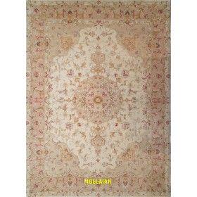 Tappeto pregiato Tabriz 60R extra fine Persia bianco beige rosa e seta 205x146 Mollaian rugs