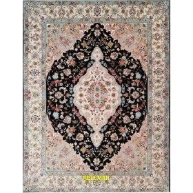Tappeto pregiato Tabriz 60R extra fine nero beige azzurro Persia 202x149 Mollaian rugs