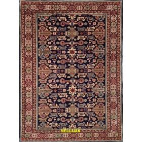 Tappeto geometrico Ardebil perpedil blu Persia 190x133 Mollaian rugs
