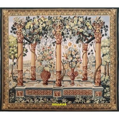Aubusson Tapestry 172x150-Mollaian-rugs-Aubusson and Tapestries-Arazzo Aubusson-geometrico-1098-800,00€-Sale--50%