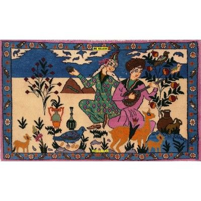Bukara Mashad Vintage Persia 97x58-Mollaian-Bedside-Rugs-Bedside carpets-Bukara Turkmen-7910-145,00€-Sale--50%