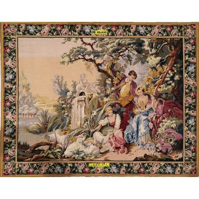 Aubusson Needle-point Tapestry 146x118-Mollaian-rugs-Aubusson and Tapestries-Arazzo Aubusson-geometrico-0631-345,00€-Sale--50%