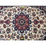 Persian Isfahan silk bedside rug 100x73 white red Mollaian rugs
