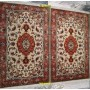 Pair of Tabriz bedside rugs 60R Persia silk 125x77 white coral white silk Mollaian rugs